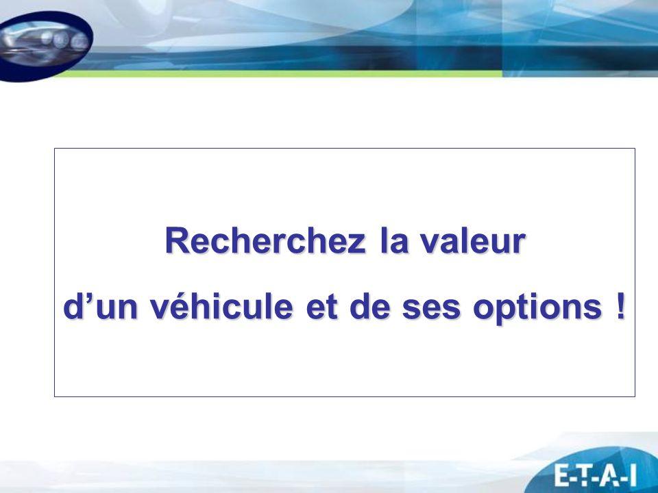 Recherchez la valeur dun véhicule et de ses options !