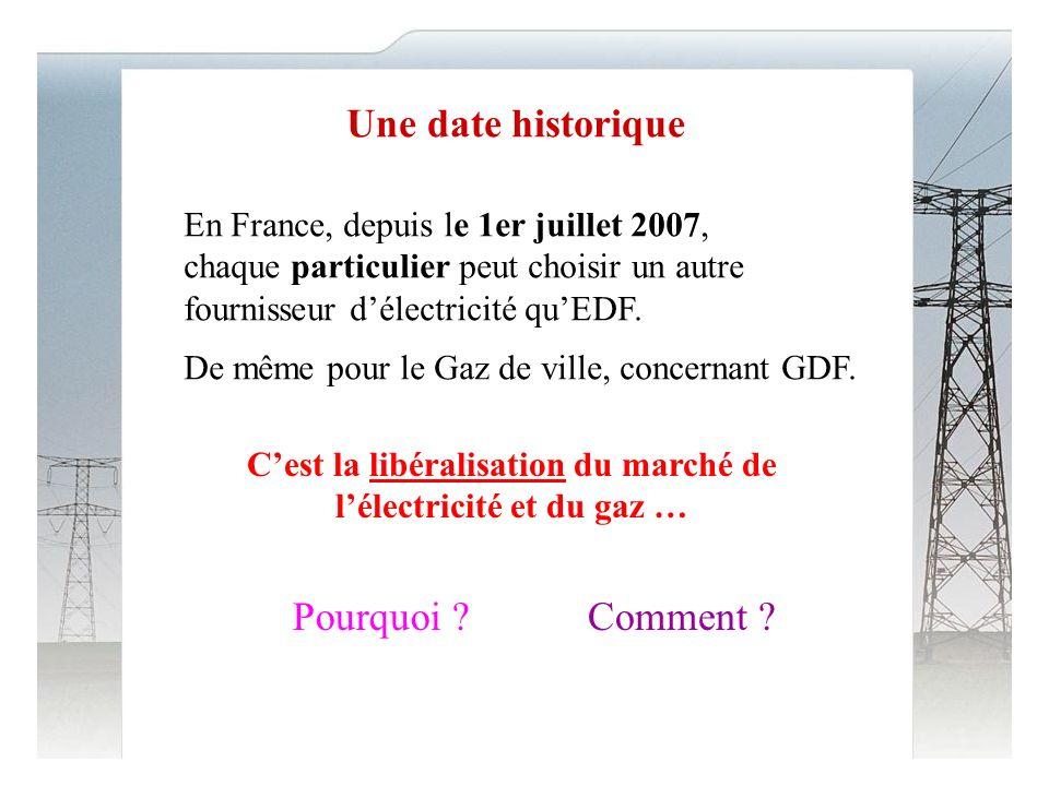 Une date historique En France, depuis le 1er juillet 2007, chaque particulier peut choisir un autre fournisseur délectricité quEDF.