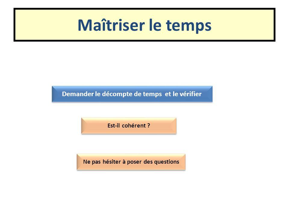 Maîtriser le temps Demander le décompte de temps et le vérifier Est-il cohérent ? Ne pas hésiter à poser des questions