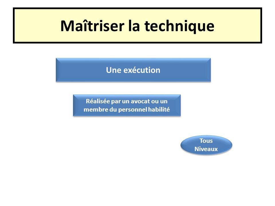 Maîtriser la technique Une exécution Réalisée par un avocat ou un membre du personnel habilité Tous Niveaux