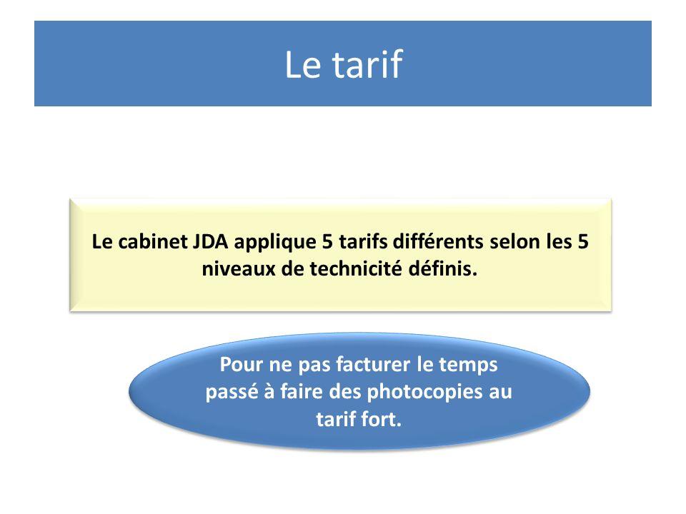Le tarif Le cabinet JDA applique 5 tarifs différents selon les 5 niveaux de technicité définis. Pour ne pas facturer le temps passé à faire des photoc