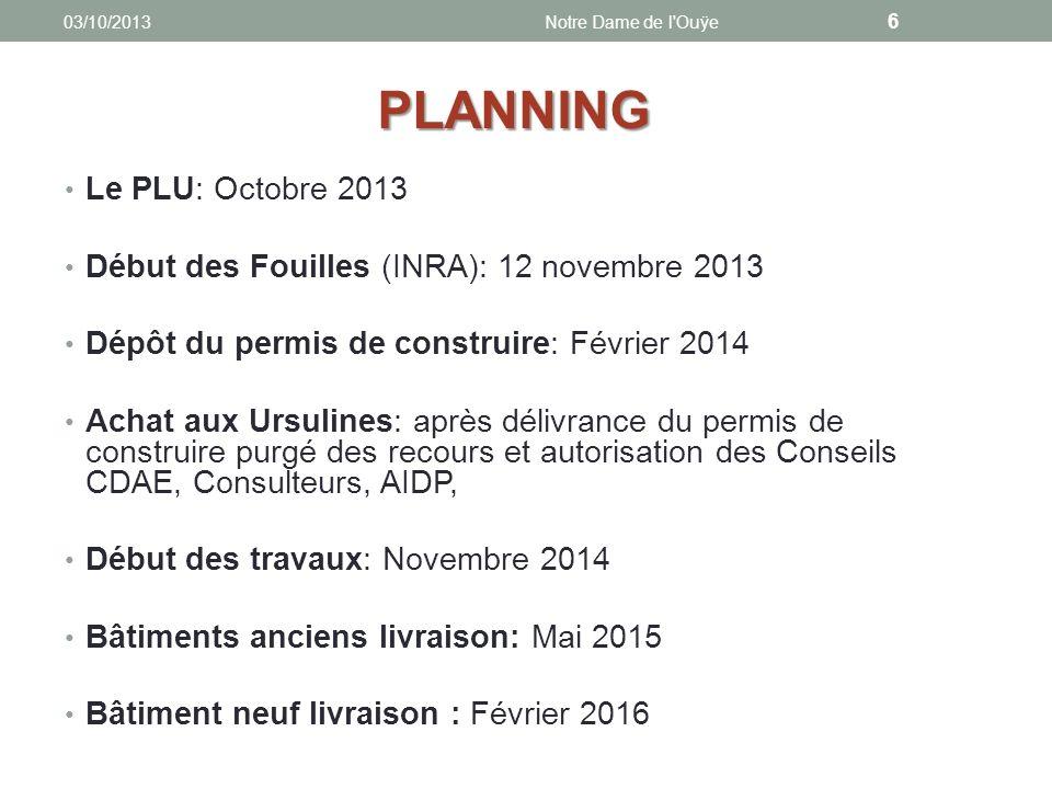 Le PLU: Octobre 2013 Début des Fouilles (INRA): 12 novembre 2013 Dépôt du permis de construire: Février 2014 Achat aux Ursulines: après délivrance du