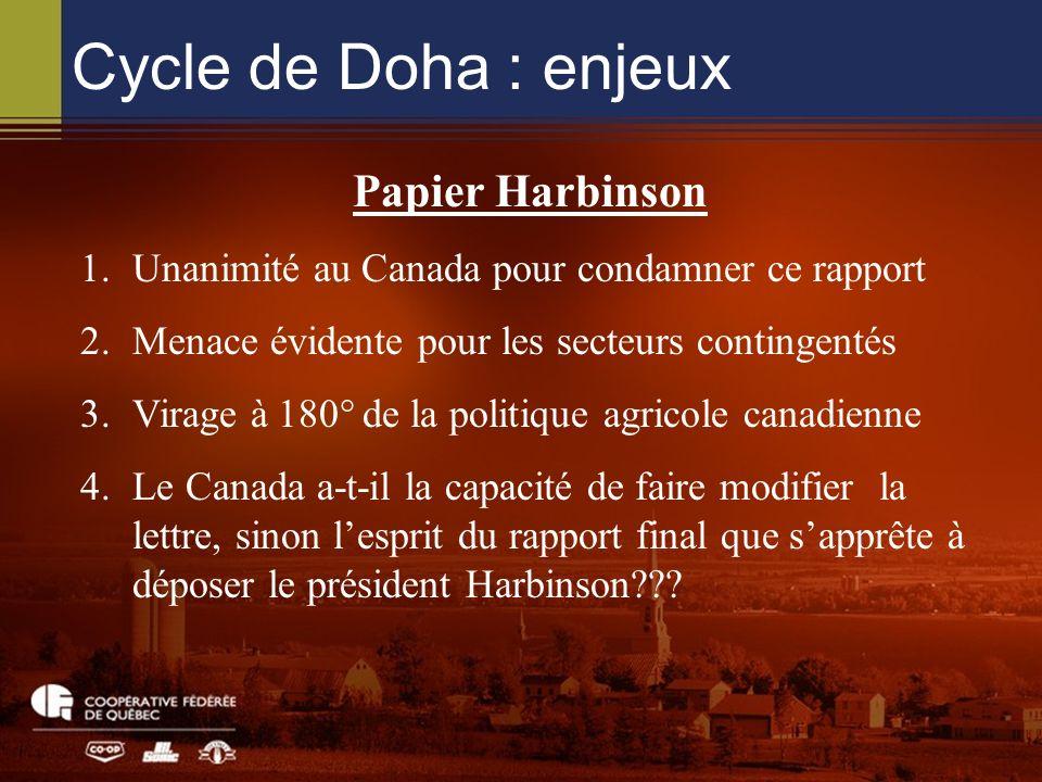 Cycle de Doha : enjeux Papier Harbinson 1.Unanimité au Canada pour condamner ce rapport 2.Menace évidente pour les secteurs contingentés 3.Virage à 180° de la politique agricole canadienne 4.Le Canada a-t-il la capacité de faire modifier la lettre, sinon lesprit du rapport final que sapprête à déposer le président Harbinson