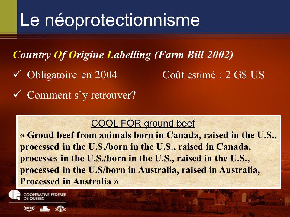 Le néoprotectionnisme Country Of Origine Labelling (Farm Bill 2002) Obligatoire en 2004 Coût estimé : 2 G$ US Comment sy retrouver? COOL FOR ground be