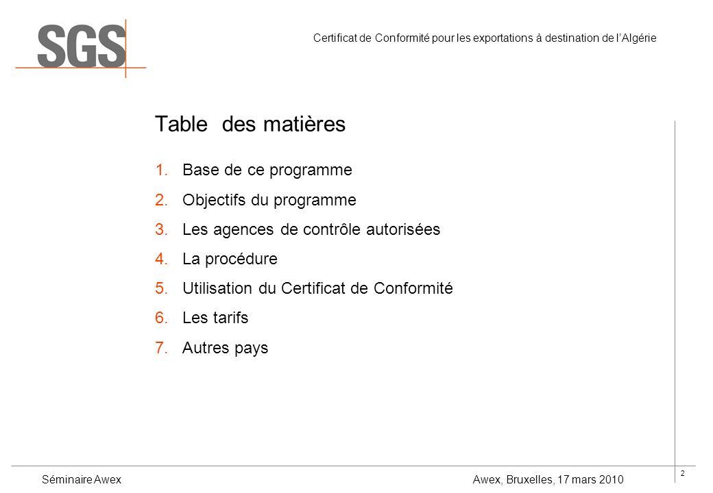2 Certificat de Conformité pour les exportations à destination de lAlgérie Séminaire Awex Awex, Bruxelles, 17 mars 2010 Table des matières 1.Base de c