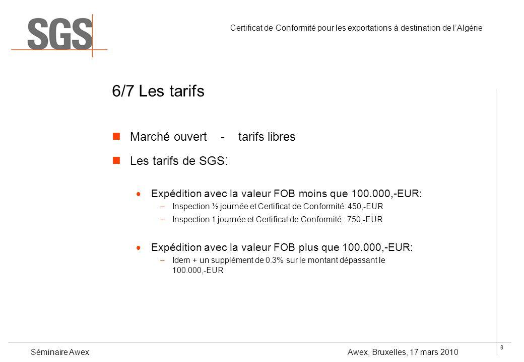 8 Certificat de Conformité pour les exportations à destination de lAlgérie Séminaire Awex Awex, Bruxelles, 17 mars 2010 6/7 Les tarifs Marché ouvert -