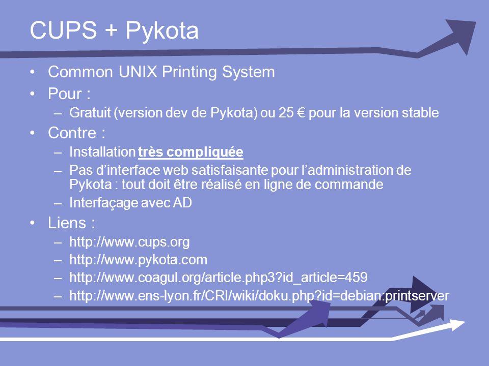 CUPS + Pykota Common UNIX Printing System Pour : –Gratuit (version dev de Pykota) ou 25 pour la version stable Contre : –Installation très compliquée