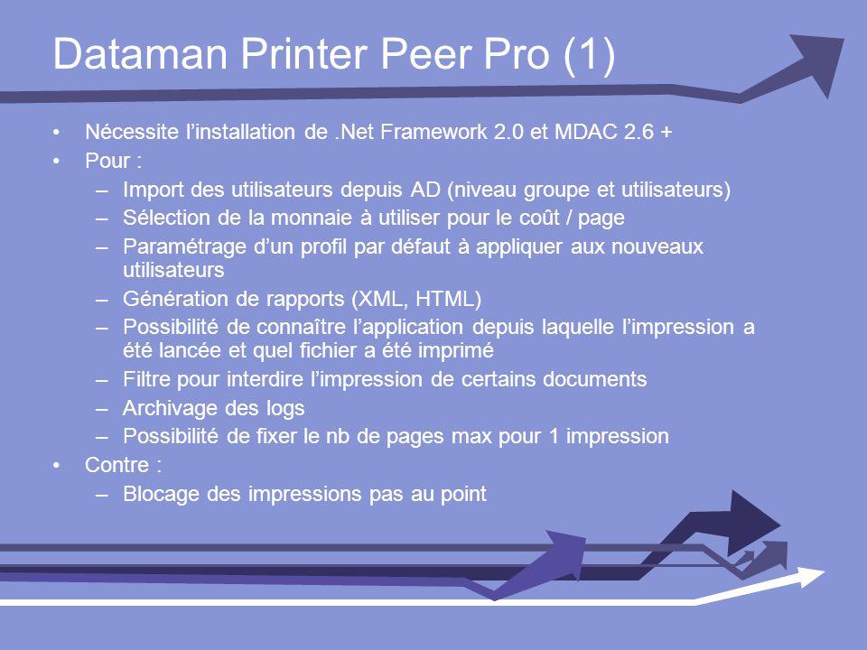 Dataman Printer Peer Pro (1) Nécessite linstallation de.Net Framework 2.0 et MDAC 2.6 + Pour : –Import des utilisateurs depuis AD (niveau groupe et ut