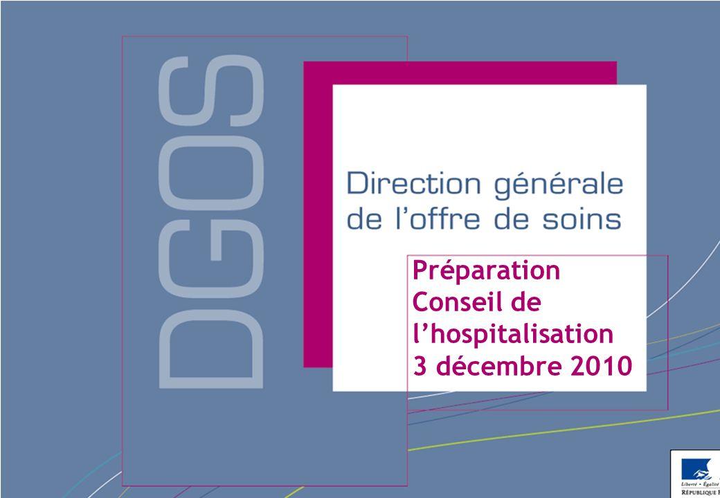 Direction générale de loffre de soins - DGOS Préparation Conseil de lhospitalisation 3 décembre 2010