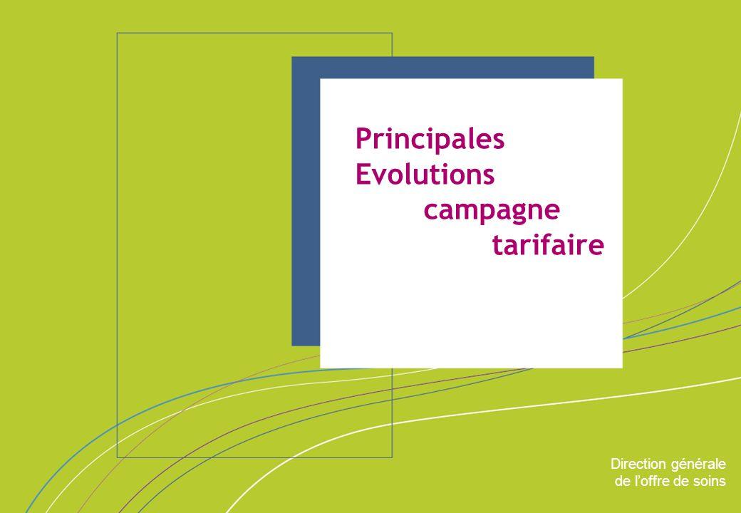 Direction générale de loffre de soins - DGOS ORGANISATION & MISSIONS Direction générale de loffre de soins Principales Evolutions campagne tarifaire
