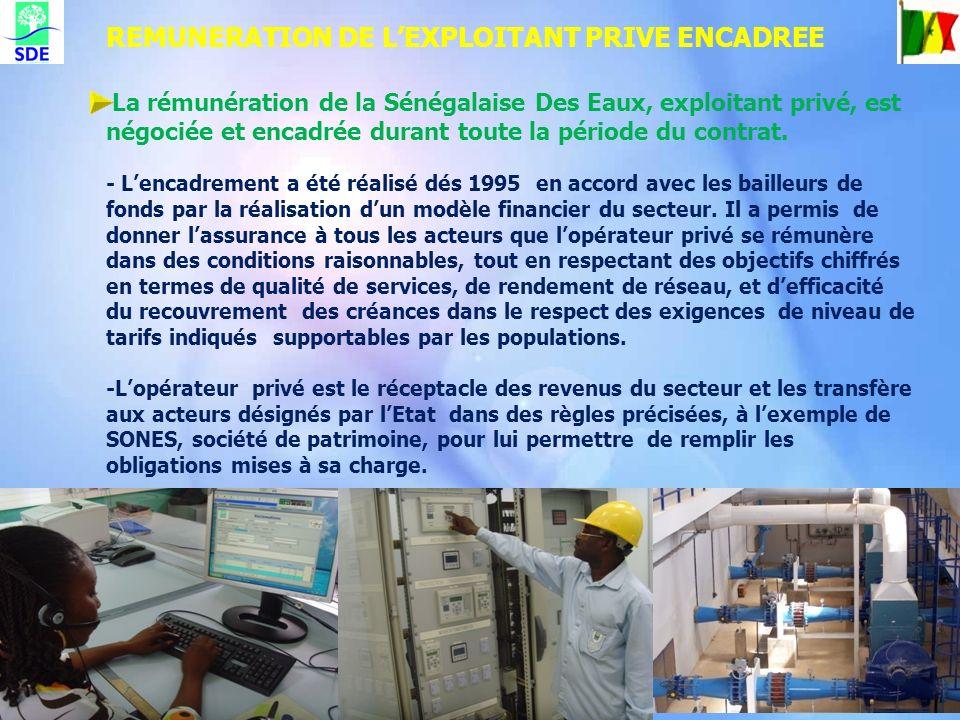 La rémunération de la Sénégalaise Des Eaux, exploitant privé, est négociée et encadrée durant toute la période du contrat. - Lencadrement a été réalis