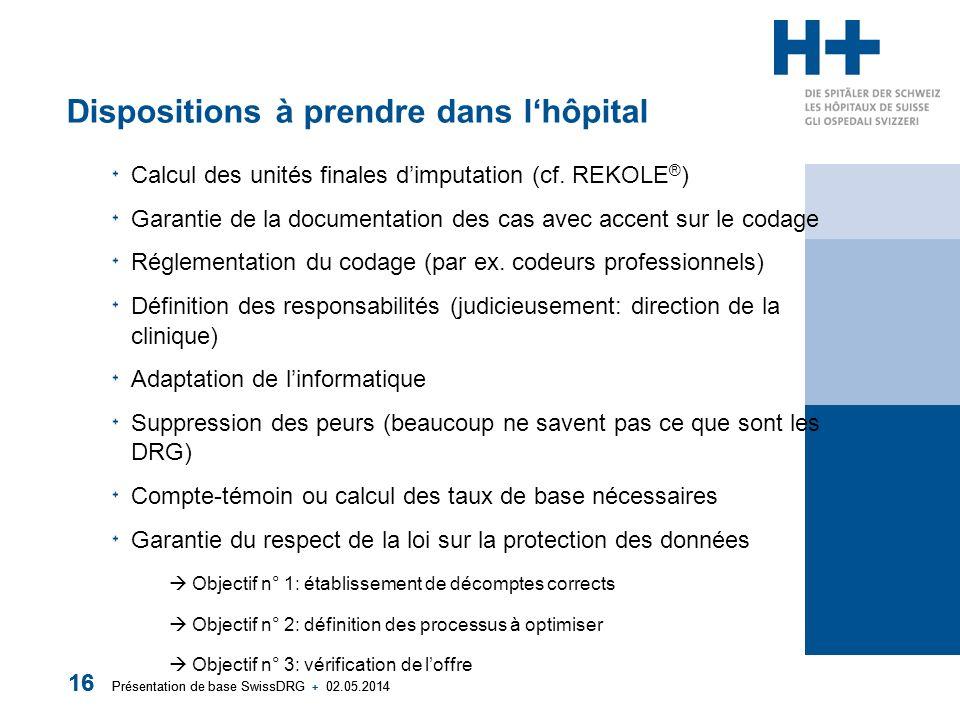 Présentation de base SwissDRG + 02.05.2014 16 Présentation de base SwissDRG + 02.05.2014 16 Dispositions à prendre dans lhôpital Calcul des unités finales dimputation (cf.
