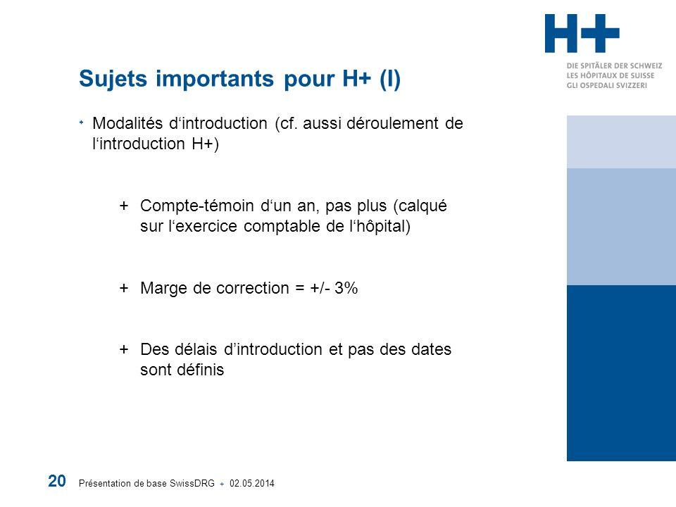 Présentation de base SwissDRG + 02.05.2014 20 Sujets importants pour H+ (I) Modalités dintroduction (cf. aussi déroulement de lintroduction H+) +Compt