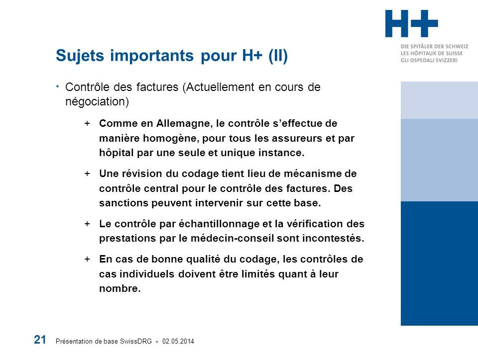 Présentation de base SwissDRG + 02.05.2014 21 Sujets importants pour H+ (II) Contrôle des factures (Actuellement en cours de négociation) +Comme en Allemagne, le contrôle seffectue de manière homogène, pour tous les assureurs et par hôpital par une seule et unique instance.