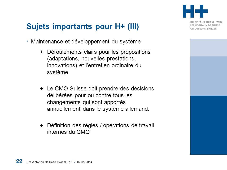 Présentation de base SwissDRG + 02.05.2014 22 Sujets importants pour H+ (III) Maintenance et développement du système +Déroulements clairs pour les pr