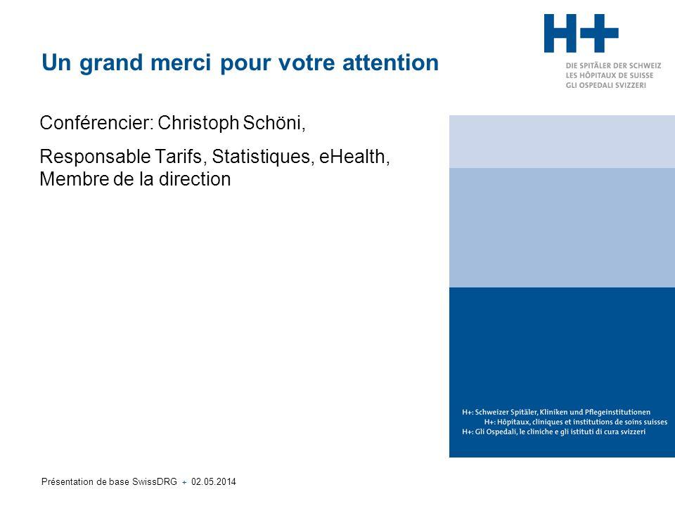 Présentation de base SwissDRG + 02.05.2014 Un grand merci pour votre attention Conférencier: Christoph Schöni, Responsable Tarifs, Statistiques, eHealth, Membre de la direction