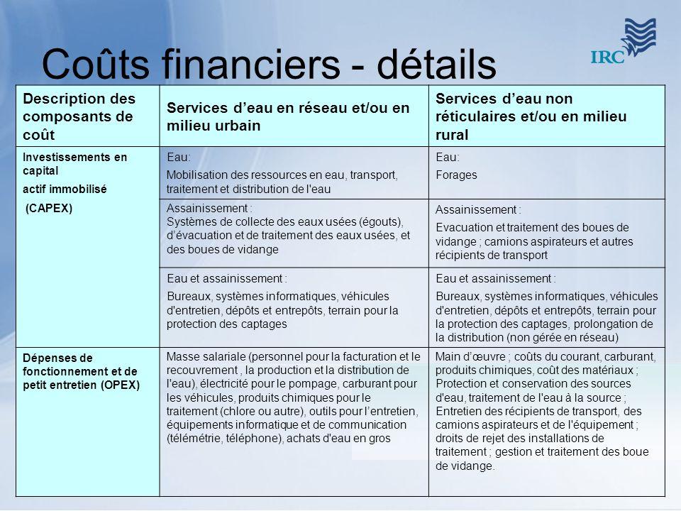 Coûts financiers - détails Description des composants de coût Services deau en réseau et/ou en milieu urbain Services deau non réticulaires et/ou en m