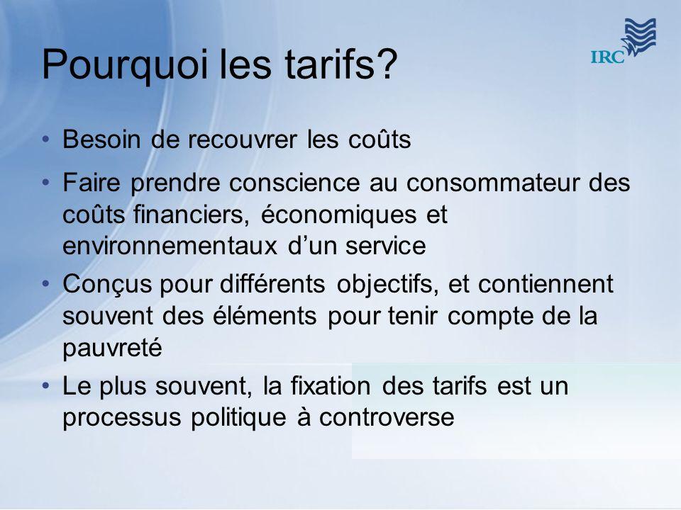Pourquoi les tarifs? Besoin de recouvrer les coûts Faire prendre conscience au consommateur des coûts financiers, économiques et environnementaux dun