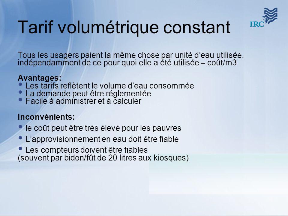 Tarif volumétrique constant Tous les usagers paient la même chose par unité deau utilisée, indépendamment de ce pour quoi elle a été utilisée – coût/m