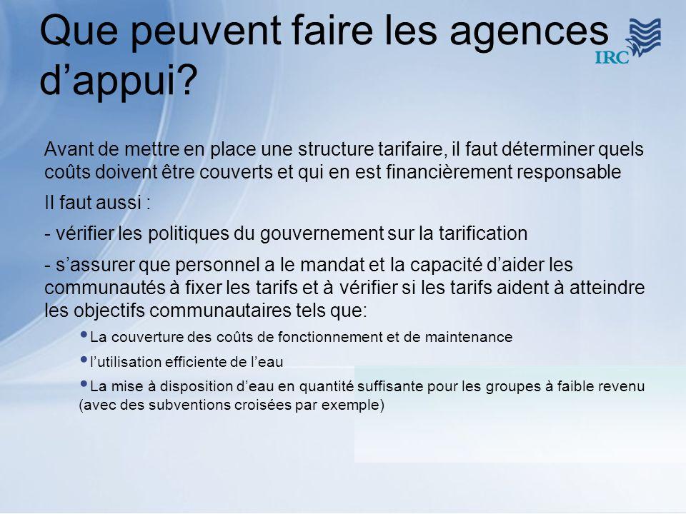 Que peuvent faire les agences dappui? Avant de mettre en place une structure tarifaire, il faut déterminer quels coûts doivent être couverts et qui en