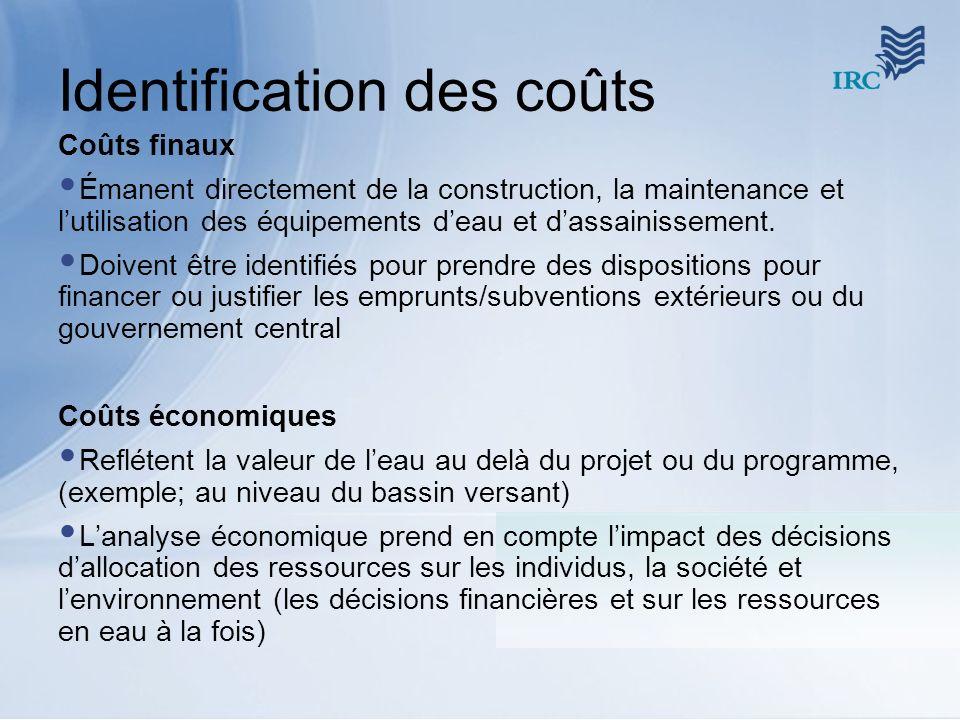 Identification des coûts Coûts finaux Émanent directement de la construction, la maintenance et lutilisation des équipements deau et dassainissement.