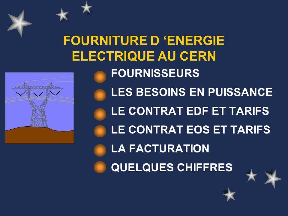 FOURNITURE D ENERGIE ELECTRIQUE AU CERN FOURNISSEURS LES BESOINS EN PUISSANCE LE CONTRAT EDF ET TARIFS LE CONTRAT EOS ET TARIFS LA FACTURATION QUELQUES CHIFFRES