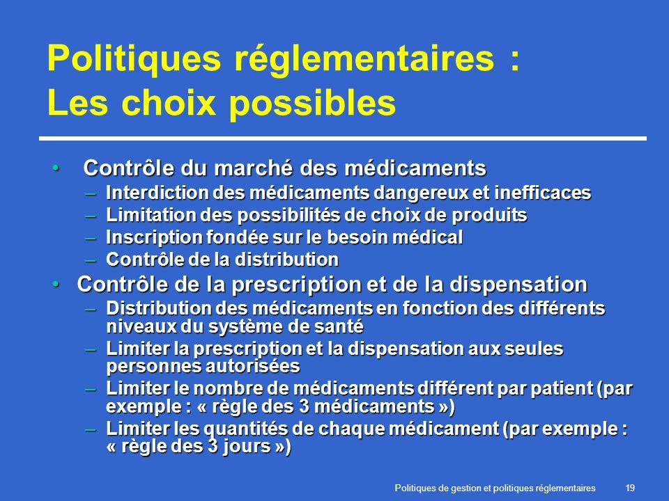 Politiques de gestion et politiques réglementaires19 Politiques réglementaires : Les choix possibles Contrôle du marché des médicaments Contrôle du ma