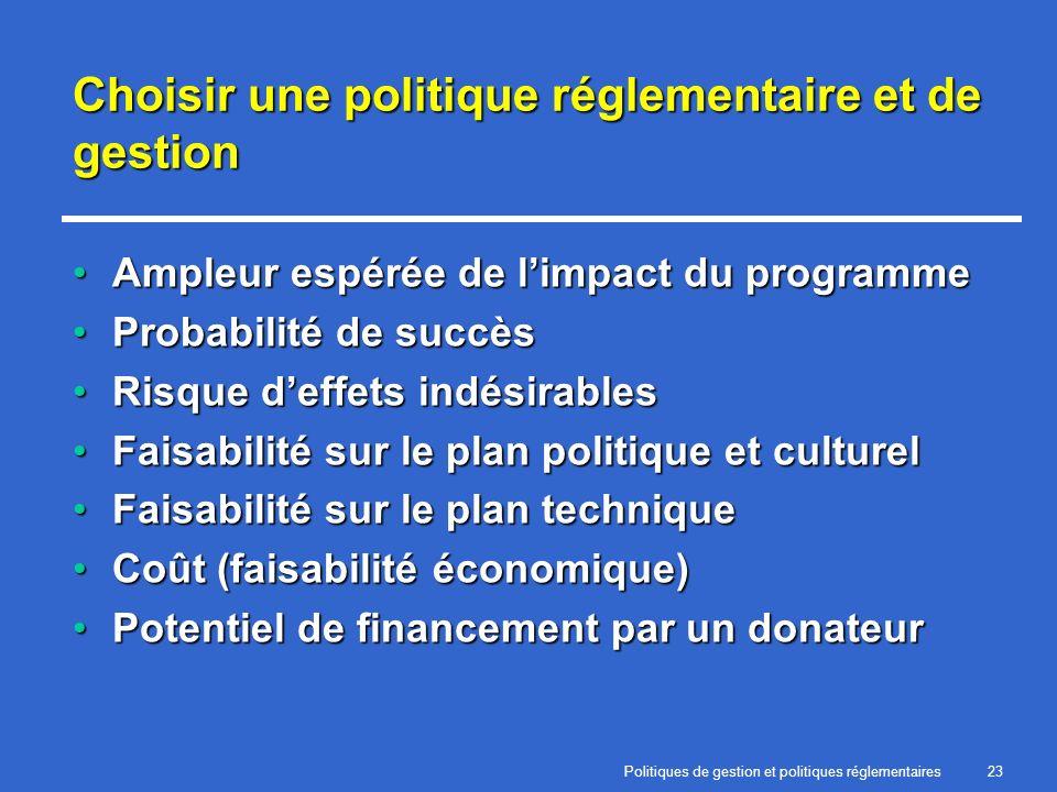 Politiques de gestion et politiques réglementaires23 Choisir une politique réglementaire et de gestion Ampleur espérée de limpact du programmeAmpleur