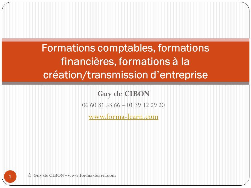 Guy de CIBON 06 60 81 53 66 – 01 39 12 29 20 www.forma-learn.com Formations comptables, formations financières, formations à la création/transmission