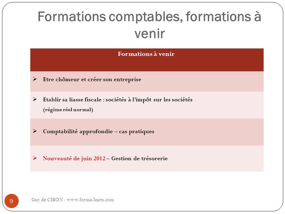 Formations comptables, formations à venir Guy de CIBON - www.forma-learn.com 9 Formations à venir Etre chômeur et créer son entreprise Etablir sa lias