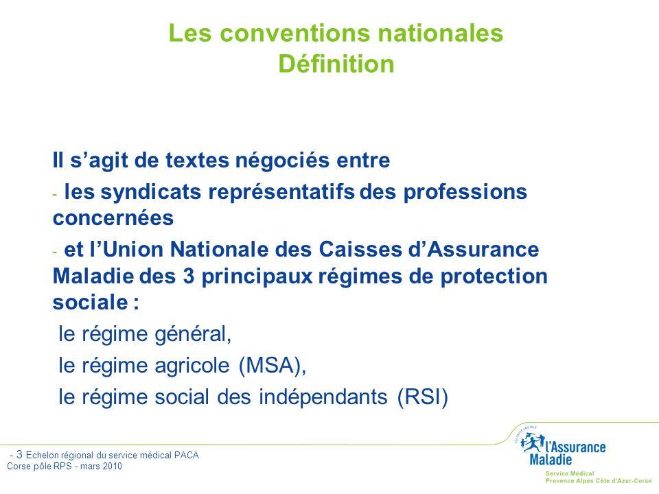 - 4 Echelon régional du service médical PACA Corse pôle RPS - mars 2010 Professionnels de Santé Caisses dAssurance Maladie Contrat Négociations Caisses dAssurance Maladie Union nationale des caisses dA.M.