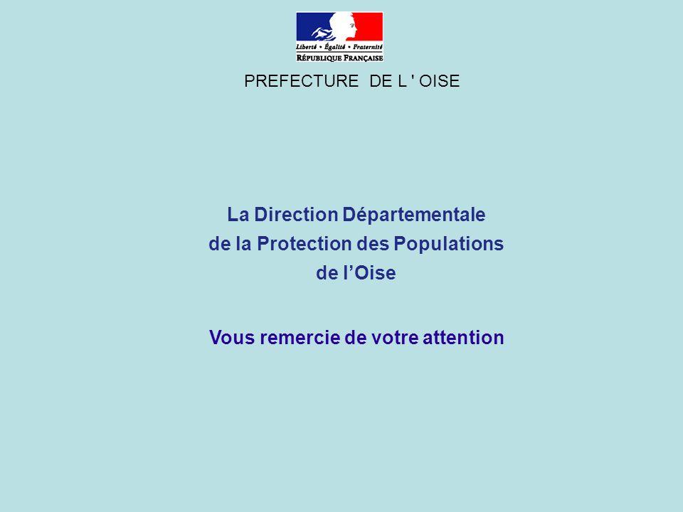 La Direction Départementale de la Protection des Populations de lOise PREFECTURE DE L OISE Vous remercie de votre attention
