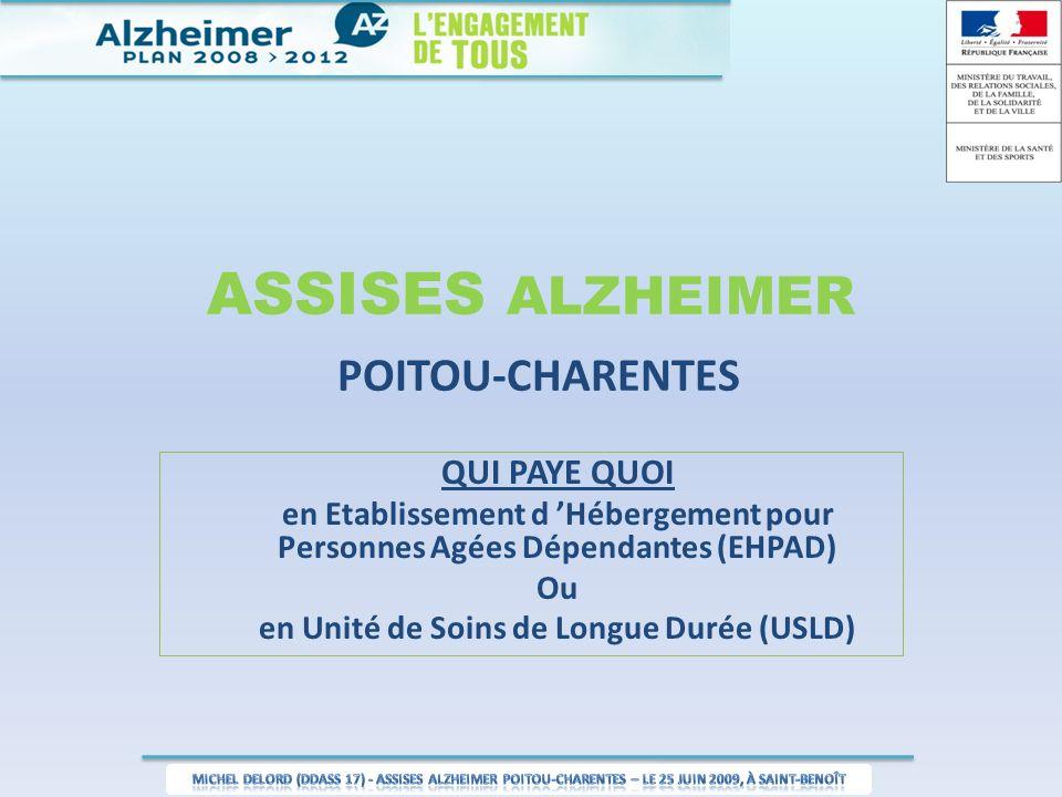 ASSISES ALZHEIMER POITOU-CHARENTES QUI PAYE QUOI en Etablissement d Hébergement pour Personnes Agées Dépendantes (EHPAD) Ou en Unité de Soins de Longu