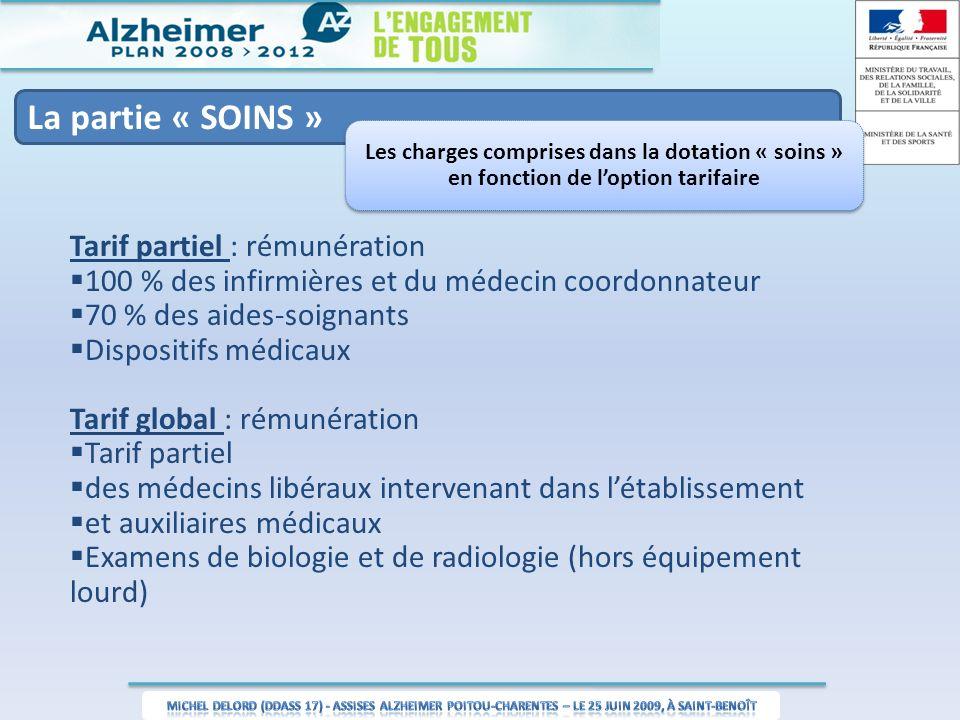 La partie « SOINS » Les charges comprises dans la dotation « soins » en fonction de loption tarifaire Tarif partiel : rémunération 100 % des infirmièr