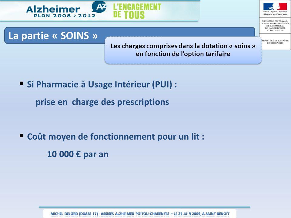 La partie « SOINS » Les charges comprises dans la dotation « soins » en fonction de loption tarifaire Si Pharmacie à Usage Intérieur (PUI) : prise en charge des prescriptions Coût moyen de fonctionnement pour un lit : 10 000 par an