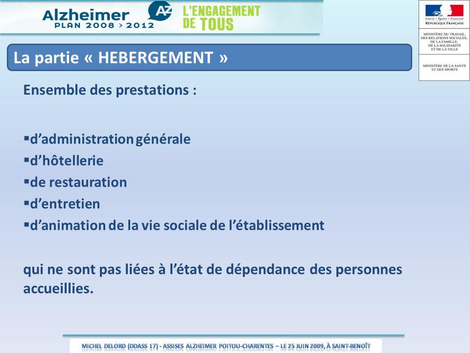 La partie « HEBERGEMENT » Ensemble des prestations : dadministration générale dhôtellerie de restauration dentretien danimation de la vie sociale de l