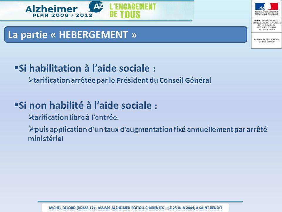La partie « HEBERGEMENT » Si habilitation à laide sociale : tarification arrêtée par le Président du Conseil Général Si non habilité à laide sociale : tarification libre à lentrée.