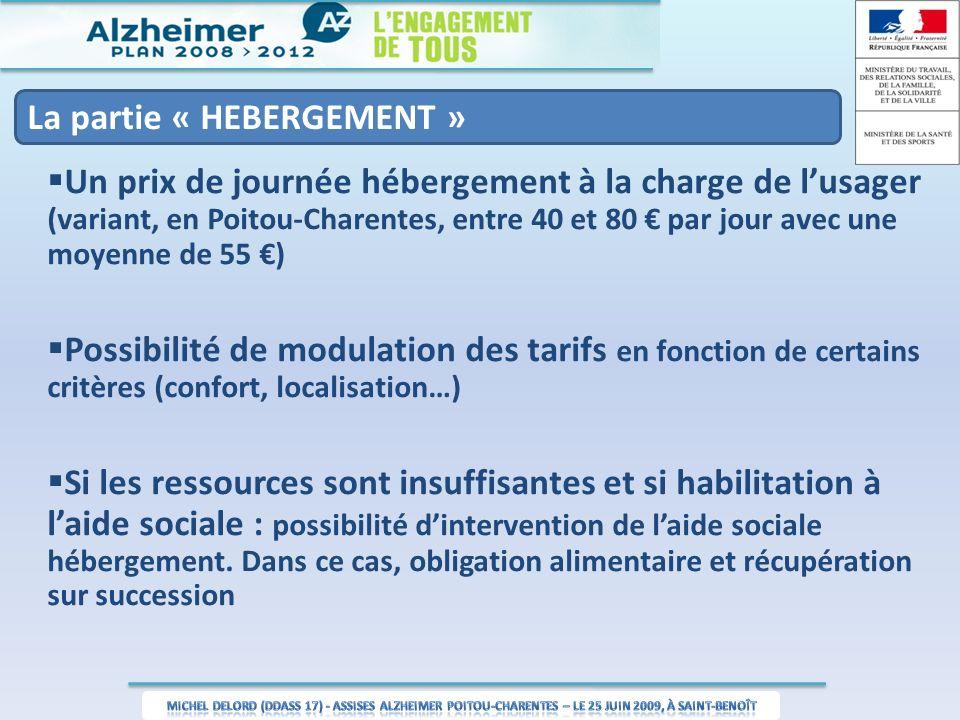 La partie « HEBERGEMENT » Un prix de journée hébergement à la charge de lusager (variant, en Poitou-Charentes, entre 40 et 80 par jour avec une moyenne de 55 ) Possibilité de modulation des tarifs en fonction de certains critères (confort, localisation…) Si les ressources sont insuffisantes et si habilitation à laide sociale : possibilité dintervention de laide sociale hébergement.