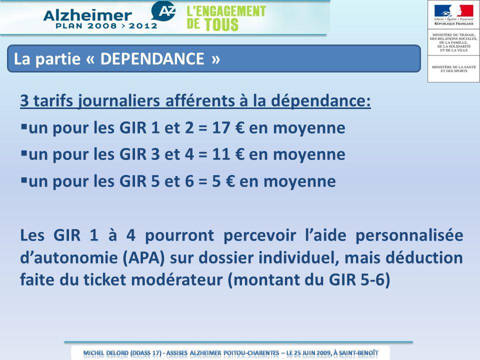 La partie « DEPENDANCE » 3 tarifs journaliers afférents à la dépendance: un pour les GIR 1 et 2 = 17 en moyenne un pour les GIR 3 et 4 = 11 en moyenne un pour les GIR 5 et 6 = 5 en moyenne Les GIR 1 à 4 pourront percevoir laide personnalisée dautonomie (APA) sur dossier individuel, mais déduction faite du ticket modérateur (montant du GIR 5-6)