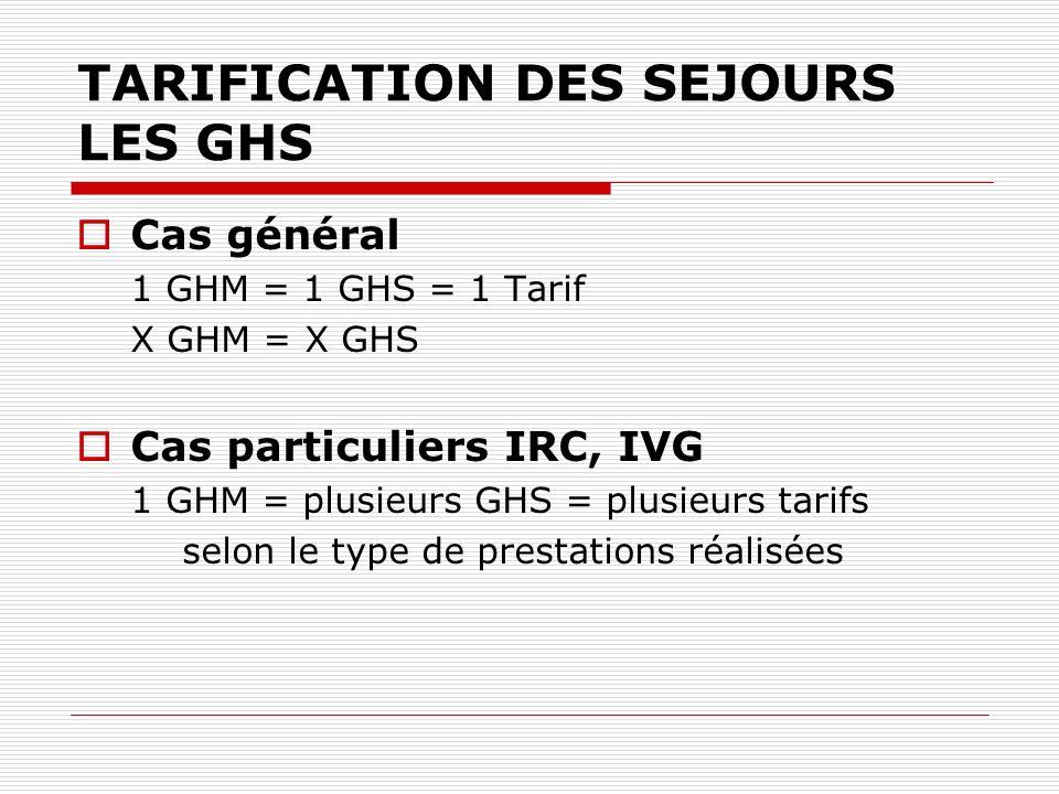 TARIFICATION DES SEJOURS LES GHS Cas général 1 GHM = 1 GHS = 1 Tarif X GHM = X GHS Cas particuliers IRC, IVG 1 GHM = plusieurs GHS = plusieurs tarifs