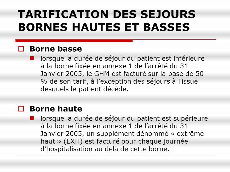TARIFICATION DES SEJOURS BORNES HAUTES ET BASSES Borne basse lorsque la durée de séjour du patient est inférieure à la borne fixée en annexe 1 de larr