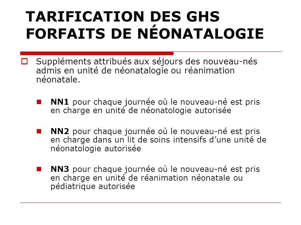 TARIFICATION DES GHS FORFAITS DE NÉONATALOGIE Suppléments attribués aux séjours des nouveau-nés admis en unité de néonatalogie ou réanimation néonatal