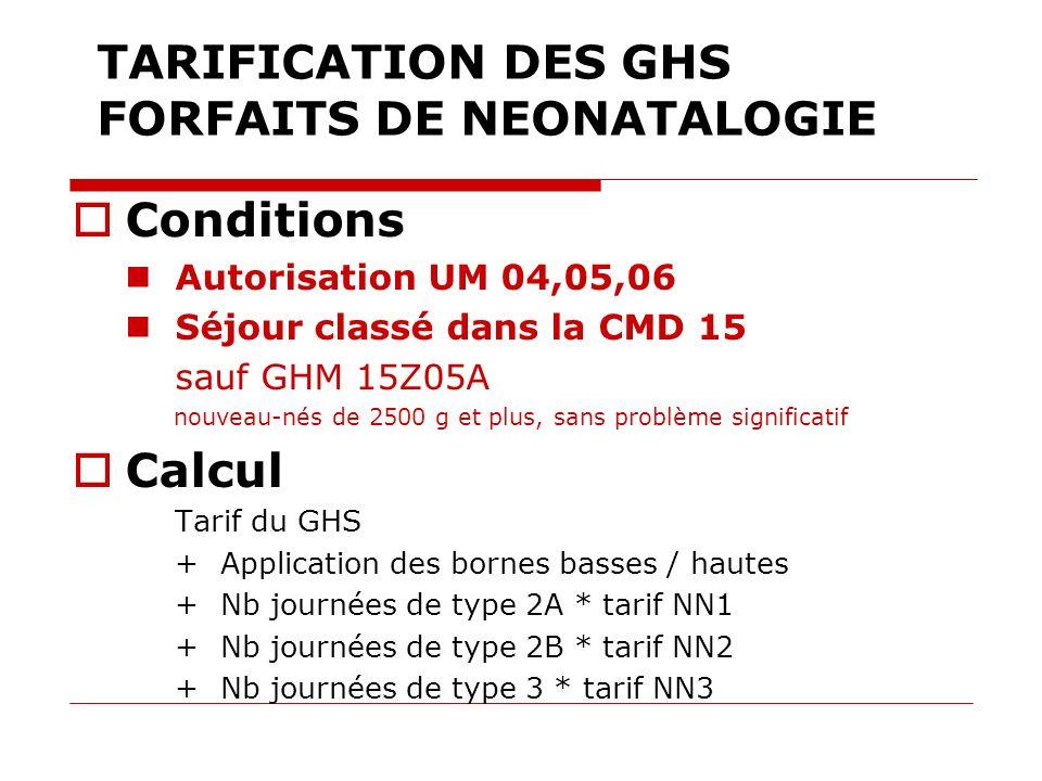 TARIFICATION DES GHS FORFAITS DE NEONATALOGIE Conditions Autorisation UM 04,05,06 Séjour classé dans la CMD 15 sauf GHM 15Z05A nouveau-nés de 2500 g e