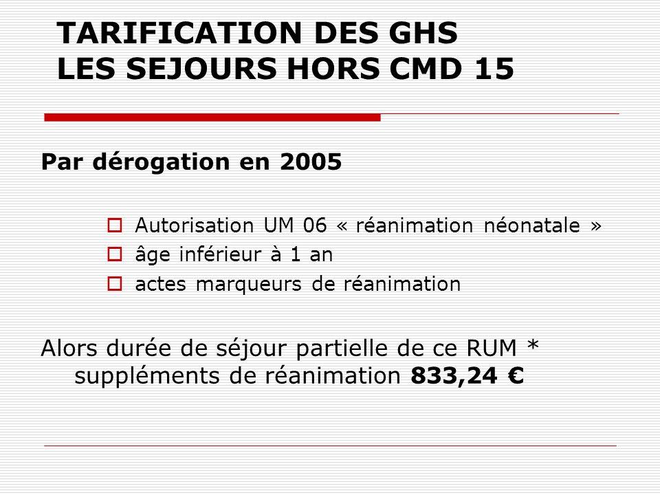 TARIFICATION DES GHS LES SEJOURS HORS CMD 15 Par dérogation en 2005 Autorisation UM 06 « réanimation néonatale » âge inférieur à 1 an actes marqueurs