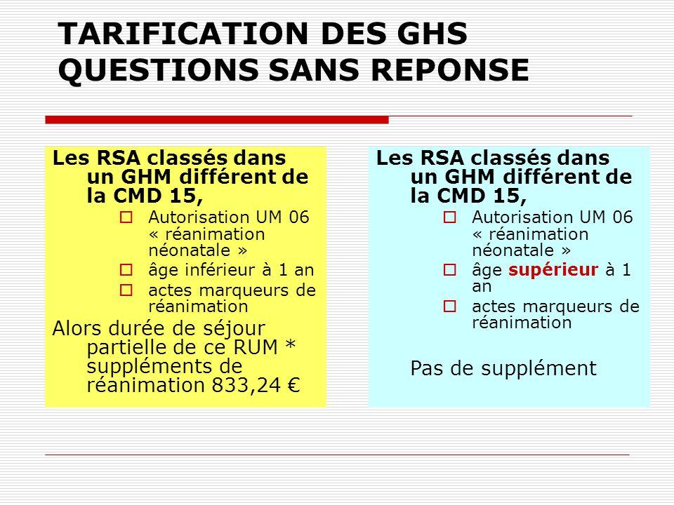 TARIFICATION DES GHS QUESTIONS SANS REPONSE Les RSA classés dans un GHM différent de la CMD 15, Autorisation UM 06 « réanimation néonatale » âge infér
