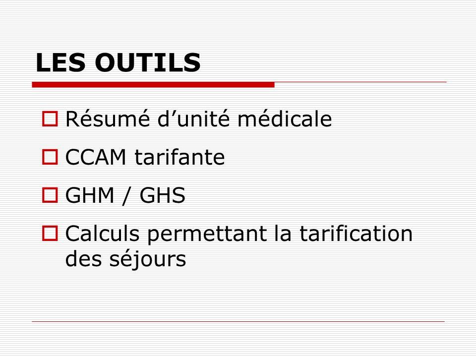 LES OUTILS Résumé dunité médicale CCAM tarifante GHM / GHS Calculs permettant la tarification des séjours