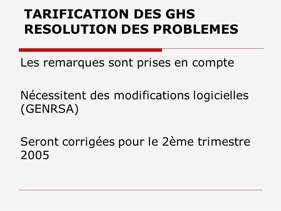 TARIFICATION DES GHS RESOLUTION DES PROBLEMES Les remarques sont prises en compte Nécessitent des modifications logicielles (GENRSA) Seront corrigées