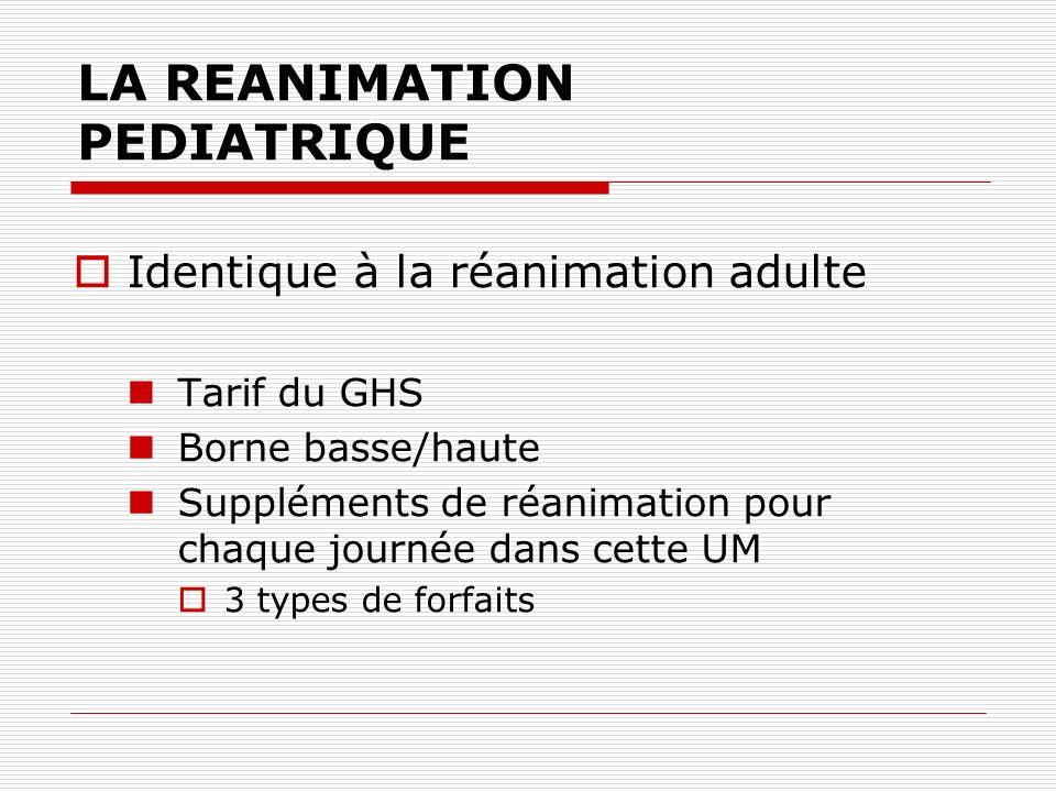 LA REANIMATION PEDIATRIQUE Identique à la réanimation adulte Tarif du GHS Borne basse/haute Suppléments de réanimation pour chaque journée dans cette