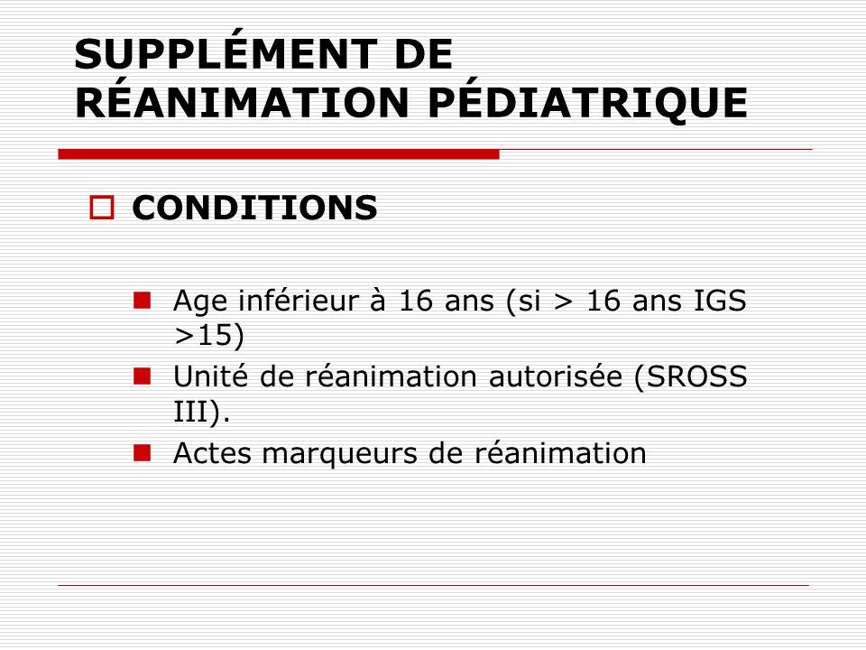 SUPPLÉMENT DE RÉANIMATION PÉDIATRIQUE CONDITIONS Age inférieur à 16 ans (si > 16 ans IGS >15) Unité de réanimation autorisée (SROSS III). Actes marque