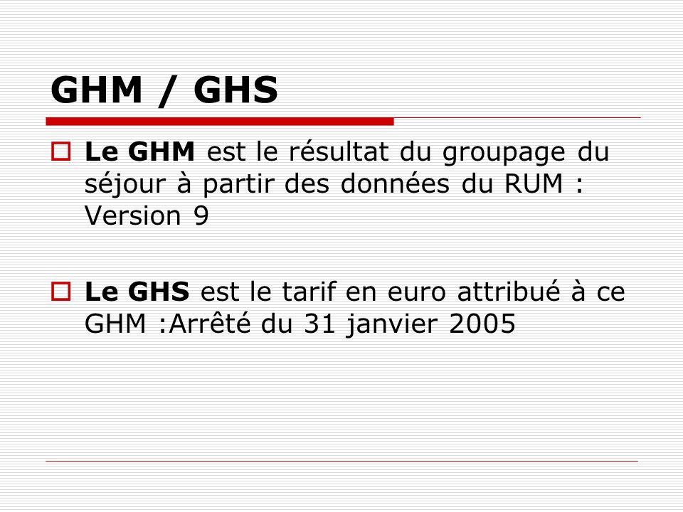 GHM / GHS Le GHM est le résultat du groupage du séjour à partir des données du RUM : Version 9 Le GHS est le tarif en euro attribué à ce GHM :Arrêté d